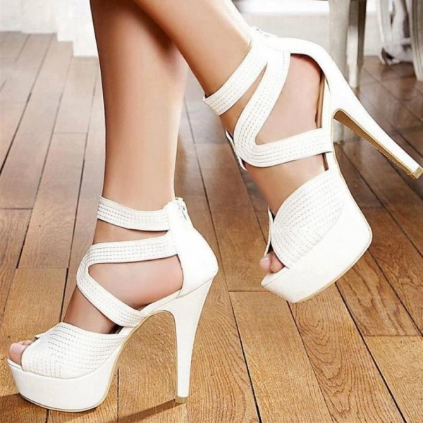 White Peep Toe High Heels