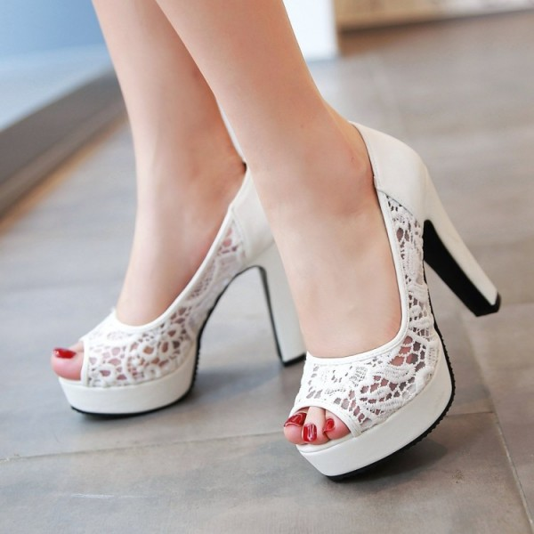 White Lace Heels Peep Toe Platform Chunky Heel Pumps for Wedding image 1