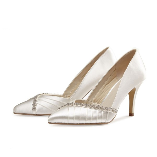 Ivory Wedding Shoes Satin Rhinestone Flower Embellished Bridal Pumps image 1