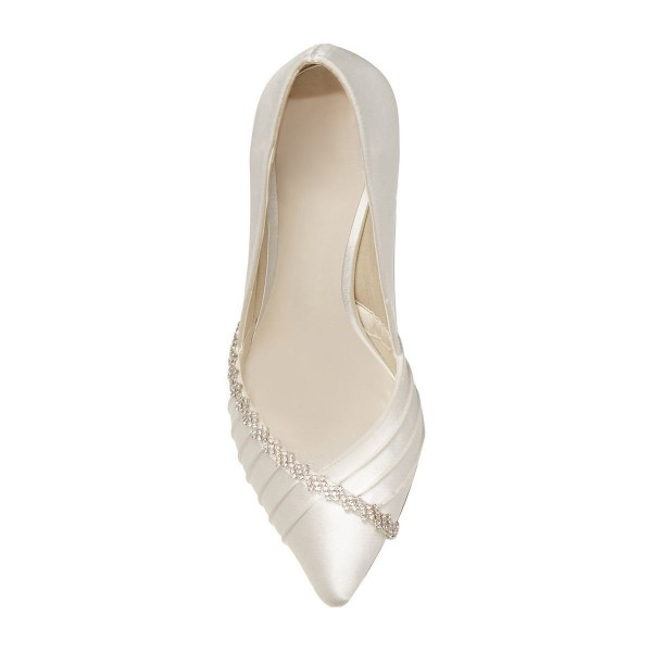 Ivory Wedding Shoes Satin Rhinestone Flower Embellished Bridal Pumps image 3