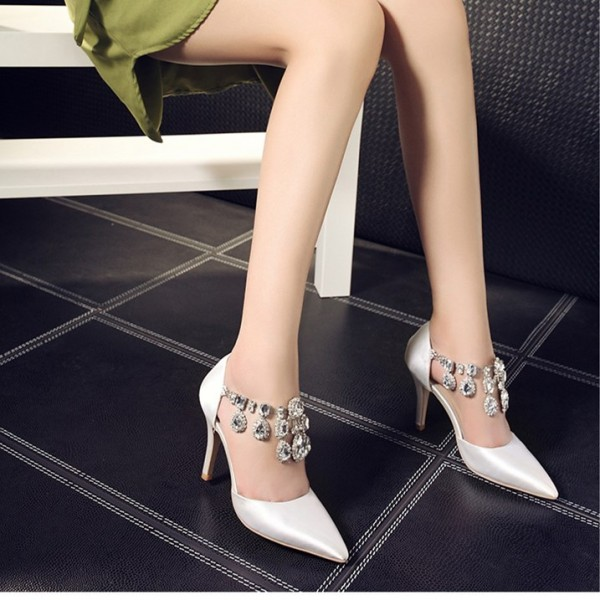 Women's White Rhinestone T-strap Stiletto Heels Wedding Shoes  image 2