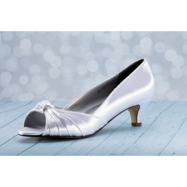 Women's White Satin Front Bow Kitten Heel Bridal Shoes image 1