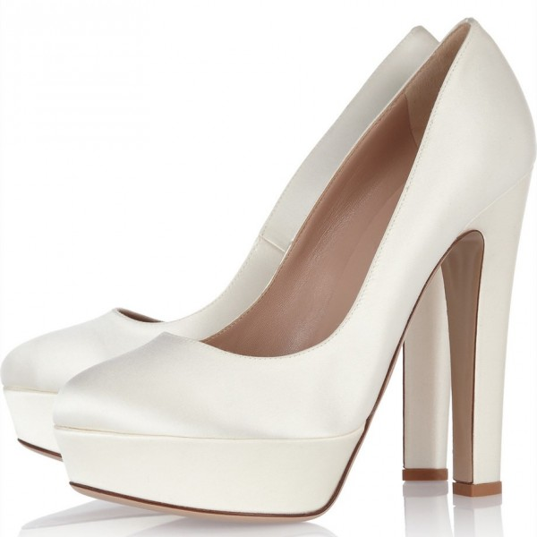 White Satin Chunky Heel Pumps Round Toe Platform Wedding Heels image 1