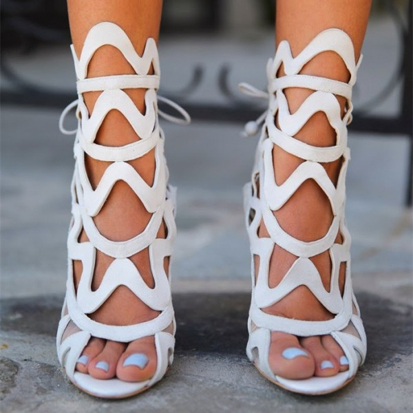 Women's White Slingback Heels Hollow out Caged Sandals Stiletto Heels image 2