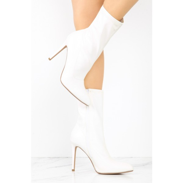 fadcf1a5bb6 White Lycra Pointy Toe Stiletto Heel Fashion Ankle Booties