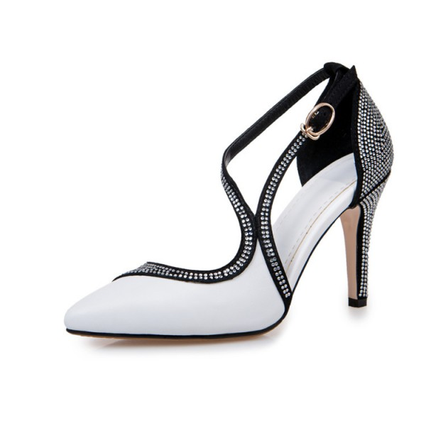 Black and White Prom Shoes Chunky Heel Rhinestone Evening Shoes image 4