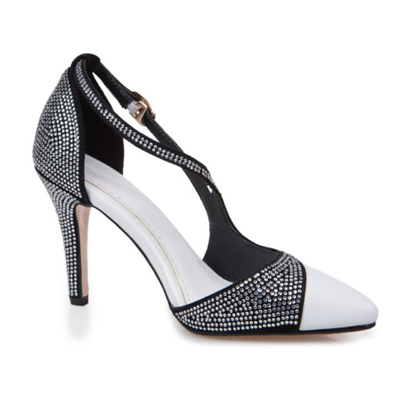 Black and White Prom Shoes Chunky Heel Rhinestone Evening Shoes image 7
