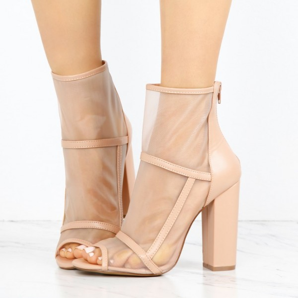 Women's Nude Transparent Chunky Heel Boots Peep Toe Ankle Boots image 1