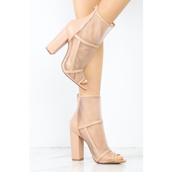 Women's Nude Transparent Chunky Heel Boots Peep Toe Ankle Boots image 2