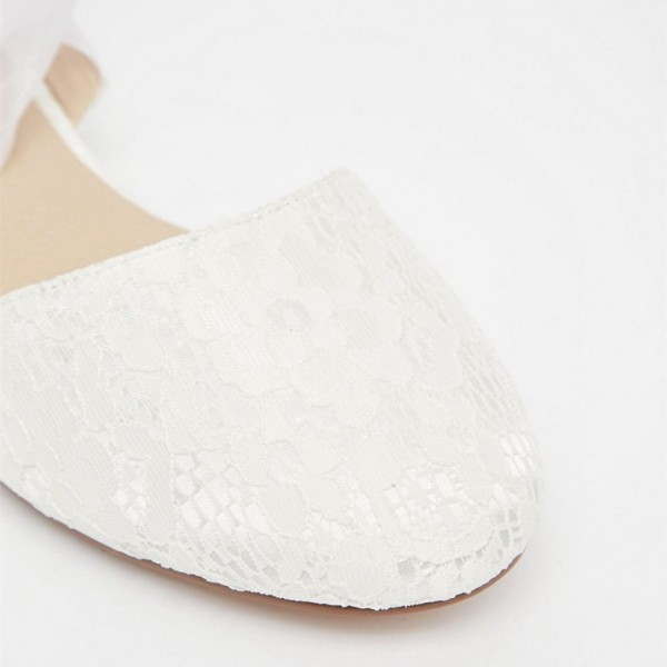 Women's White Wedding Shoes Lace Strappy Flats Bridal Shoes  image 3
