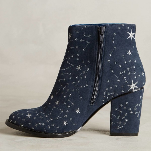 Witch Navy Suede Floral Platform Chunky Heel Boots for Halloween image 4