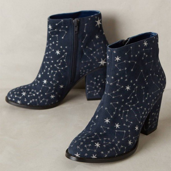 Witch Navy Suede Floral Platform Chunky Heel Boots for Halloween image 1