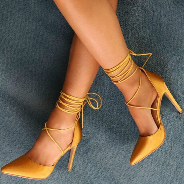 Mustard Satin Strappy Heels Pointy Toe Ankle Wrap Stiletto Heel Pumps image 1