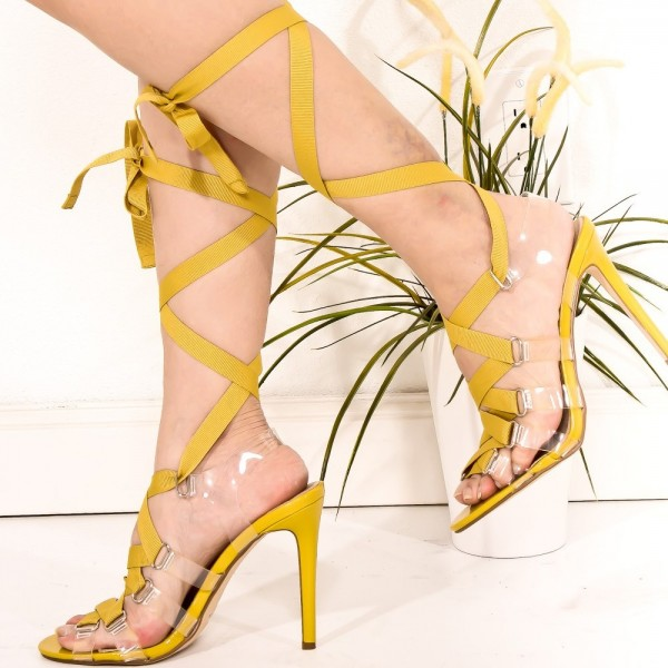 8fe4056f8a Women's Yellow Clear Stiletto Heels Open Toe Lace Up Strappy Sandals image  ...