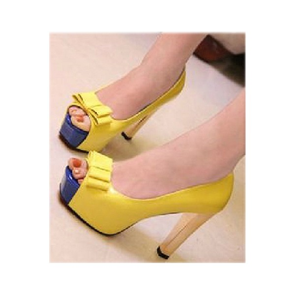 Women's Yellow Peep Toe Heels Bow Block Heel Platform Heels Pumps image 2