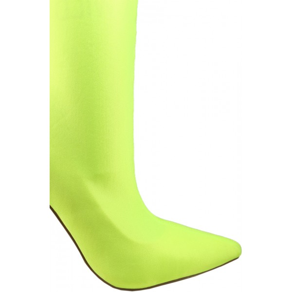 Neon Sock Boots Lycra Pointy Toe Stiletto Heel Mid Calf Booties image 3