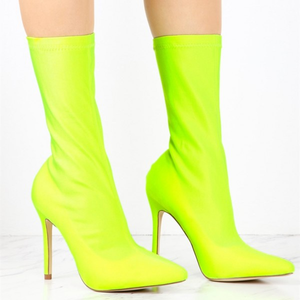 Neon Sock Boots Lycra Pointy Toe Stiletto Heel Mid Calf Booties image 2