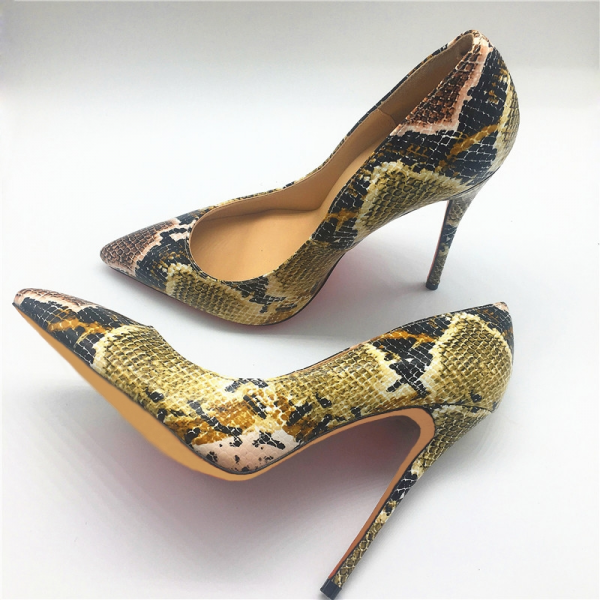 Women's Yellow Stiletto Heels Pointy Toe Python Pumps  image 3