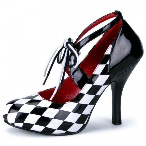 Harley Quinn Lace up Heels Black and White Pumps for Halloween image 1