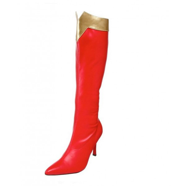 Wonder Women Red&Golden Patent Leather Stiletto Heels Knee-high Boots for Halloween image 3
