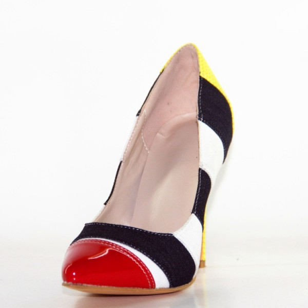 Multi-color Stripes Stiletto Heels Pointy Toe Pumps  image 2