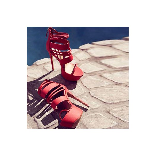 Women's Coral Red Strappy Stripper Heels Elegant Fashion Sandals  image 1