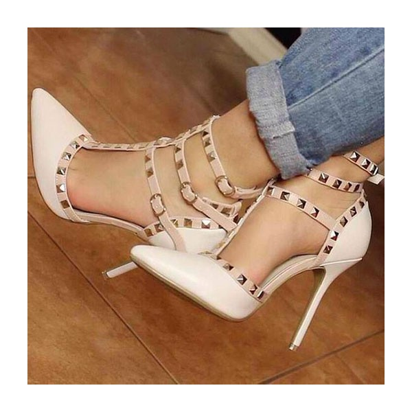 Ivory T Strap Sandals Studded Closed Toe Stiletto Heels image 1