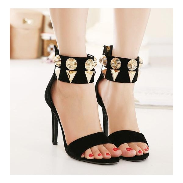 Black Ankle Strap Sandals Metal Open Toe Suede Stiletto Heels image 2