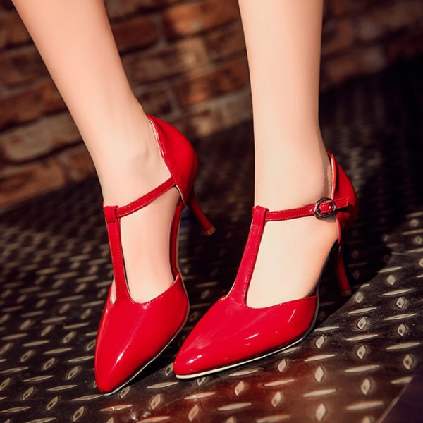 Women's  Red Classic Glossy T Strap Heels Pumps image 2
