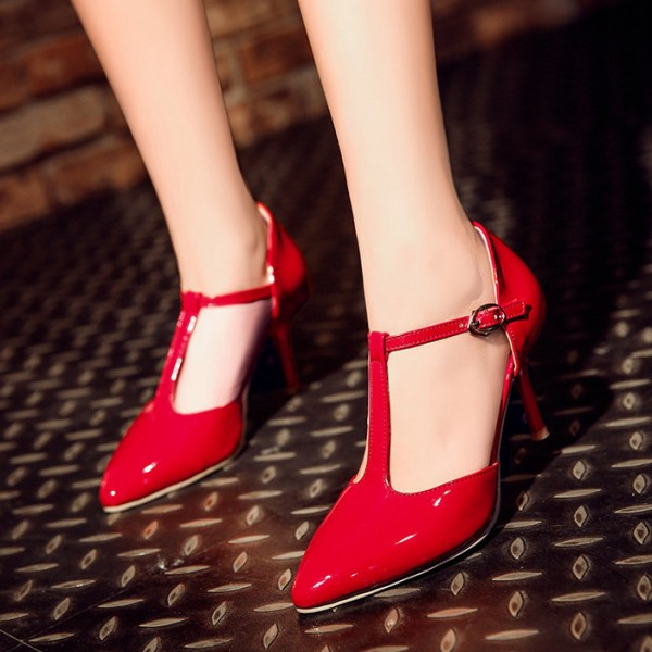 Women's  Red Classic Glossy T Strap Heels Pumps image 1