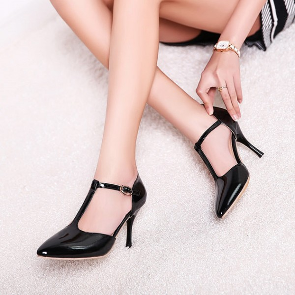 Black T Strap Heels Pointy Toe Patent Leather Stiletto Heels Pumps image 1