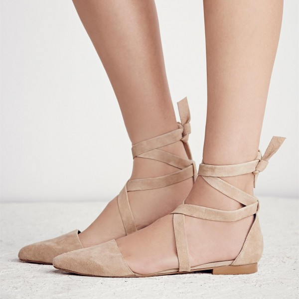 Nude Vegan Suede Pointy Toe Flats Strappy Flat Shoes US Size 3-15 image 4