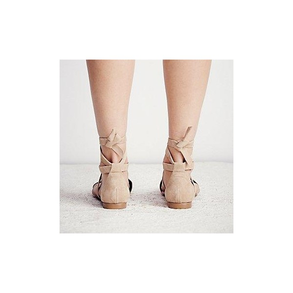 Nude Vegan Suede Pointy Toe Flats Strappy Flat Shoes US Size 3-15 image 3