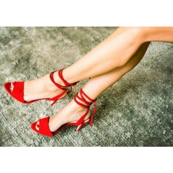 Coral Strappy Sandals Red Stiletto Heel Peep Toe Shoes image 1