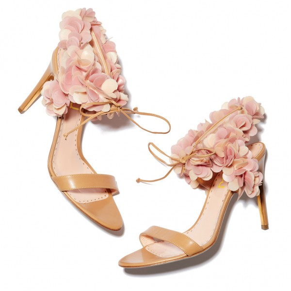 Peach Pink Floral Wedding Shoes Stiletto Heel Sandals for Bridesmaid image 1