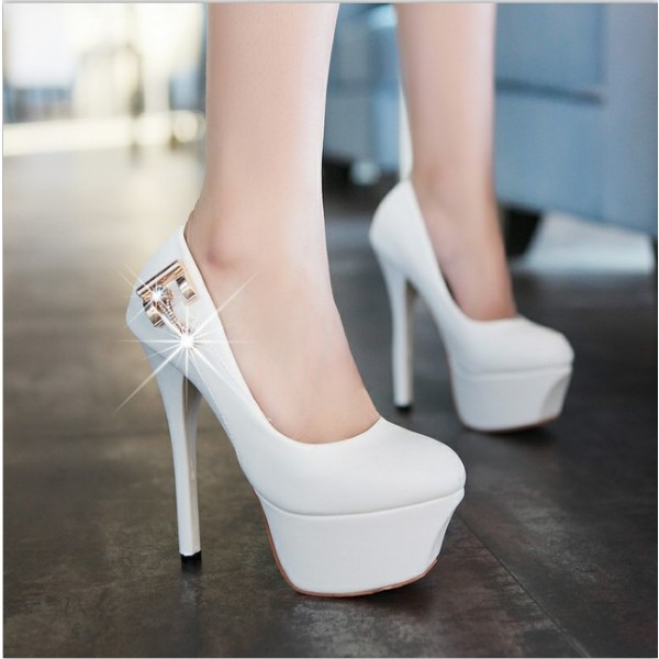 Women's Lillian White with Metal Stiletto Heels Wedding Shoes image 3