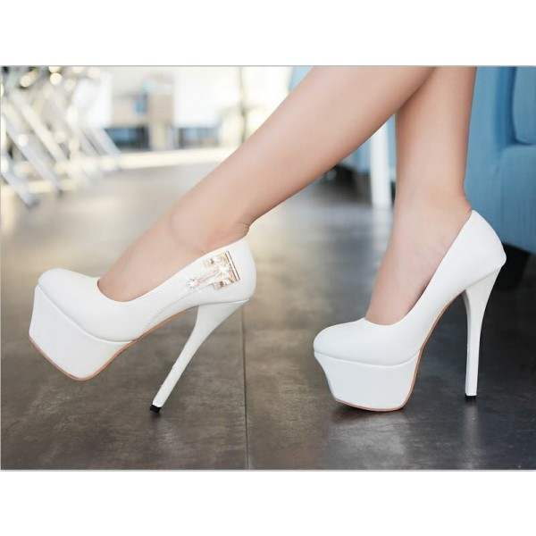 Women's Lillian White with Metal Stiletto Heels Wedding Shoes image 2