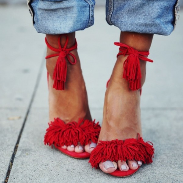 Red Fringe Sandals Tassels Strappy Heels image 1