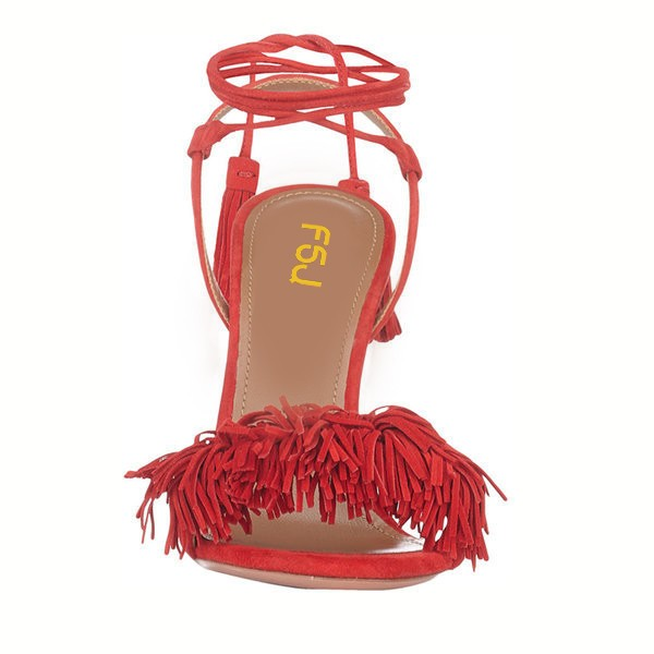 Red Fringe Sandals Tassels Strappy Heels image 5