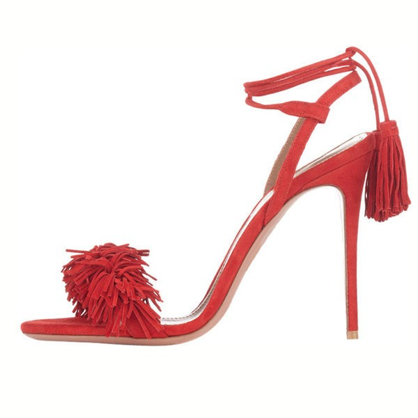 Red Fringe Sandals Tassels Strappy Heels image 6