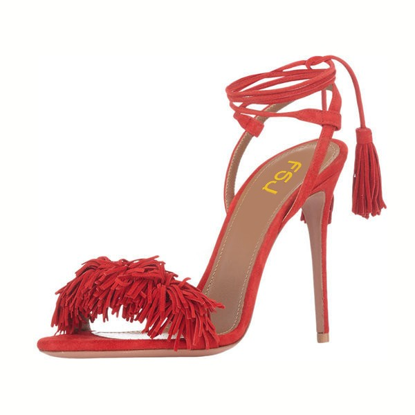 Red Fringe Sandals Tassels Strappy Heels image 4