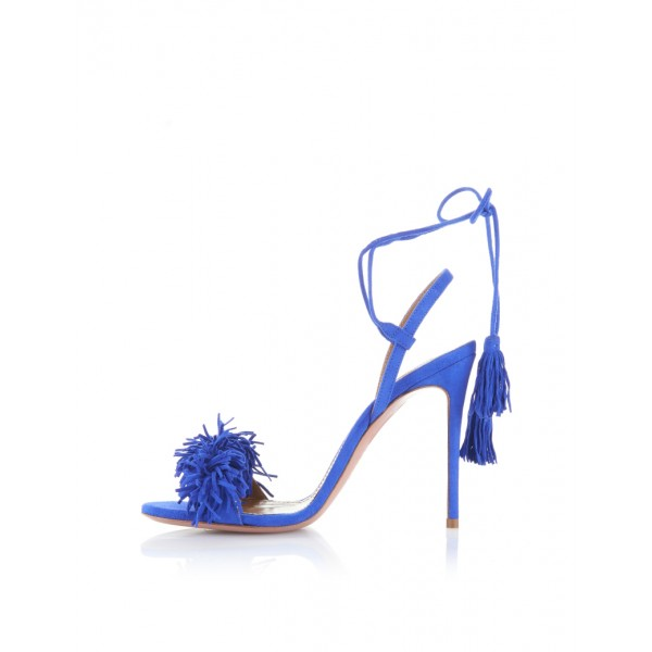 Royal Blue Heels Fringe Sandals Tassels Strappy Stiletto Heels  image 3