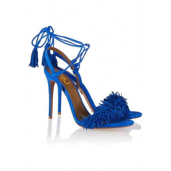 Royal Blue Heels Fringe Sandals Tassels Strappy Stiletto Heels  image 4