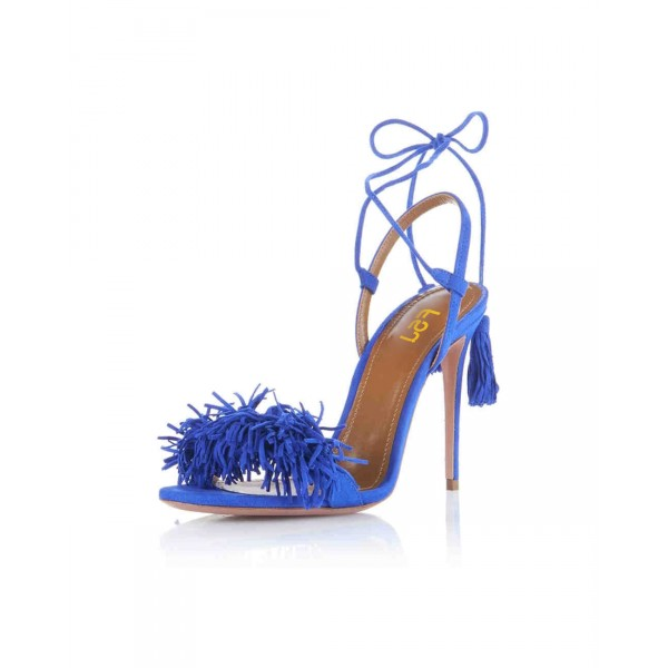 Royal Blue Heels Fringe Sandals Tassels Strappy Stiletto Heels  image 6