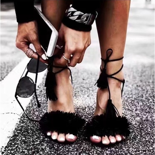 Black Tassel Sandals Open Toe Fringe Stiletto Heels image 1