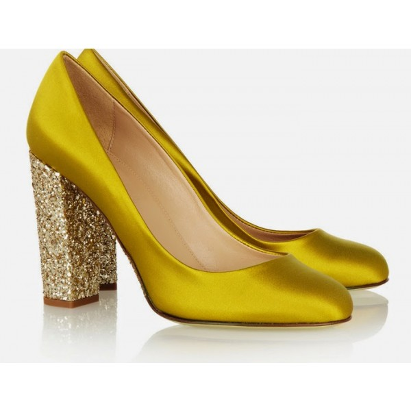 Gold Sparkly Heels Glitter Satin Chunky Heel Pumps for Ladies image 4