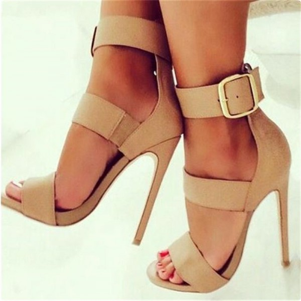 Khaki Tri-strap Open Toe Stiletto Heels Sexy Buckle Strappy Sandals image 1