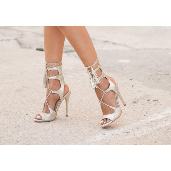 Silver Tassel Sandals Peep Toe Lace up Stiletto Heels image 2