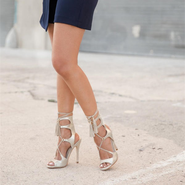 Silver Tassel Sandals Peep Toe Lace up Stiletto Heels image 1