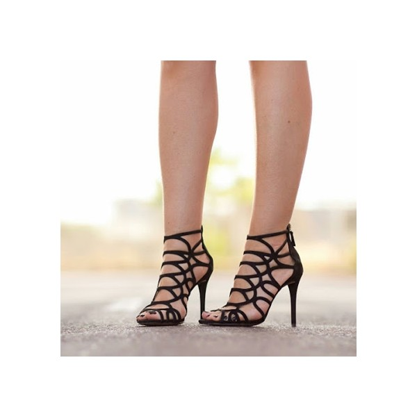 Women's Black Stiletto Heels Peep Toe Strappy Hollow Out Sandals  image 1